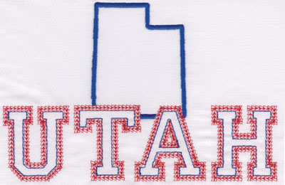 """Embroidery Design: Utah Outline and Name4.76"""" x 7.13"""""""