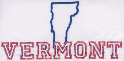 """Embroidery Design: Vermont Outline and Name3.90"""" x 7.96"""""""
