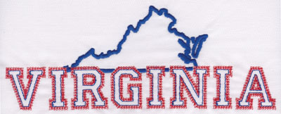 """Embroidery Design: Virginia Outline and Name3.11"""" x 7.99"""""""