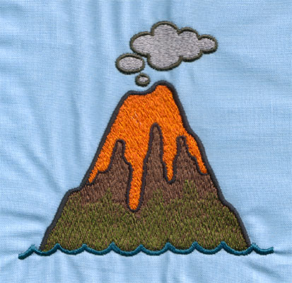 """Embroidery Design: Volcano (large)4.50"""" x 4.22"""""""
