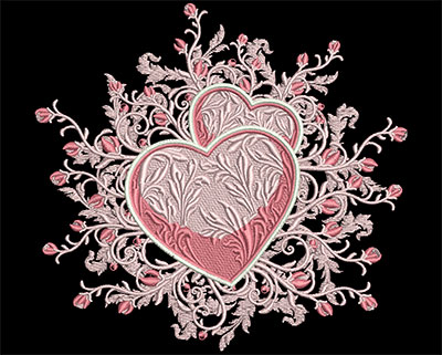 Embroidery Design: Hearts with Rose Swirls Sm 6.99w X 6.53h