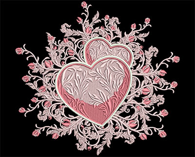 Embroidery Design: Hearts with Rose Swirls Lg 8.31w X 7.76h