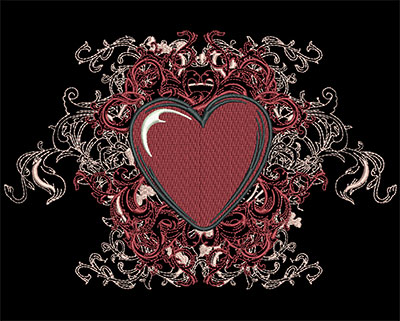 Embroidery Design: Heart with Swirls Sm 6.98w X 4.60h