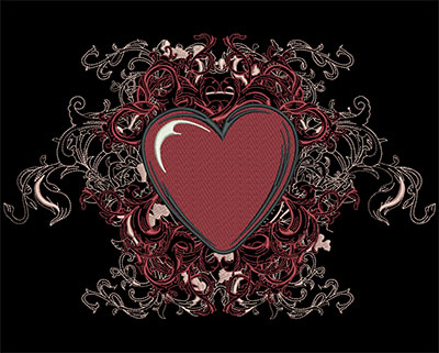 Embroidery Design: Heart with Swirls Lg 11.75w X 7.75h