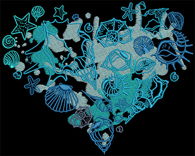 Embroidery Design: Heart Of The Ocean Lg 7.76w X 6.23h