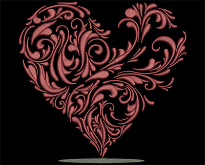 Embroidery Design: Heart Vine  7.40w X 7.11h