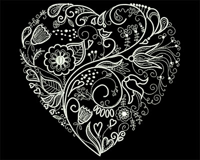 Embroidery Design: Floral Heart 7.32w X 7.05h