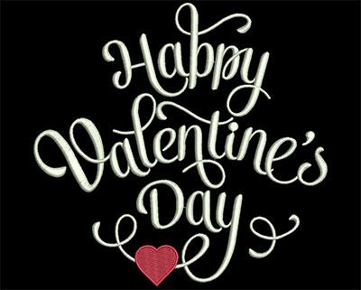Embroidery Design: Happy Valentine's Day 7.11w X 6.88h