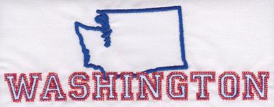 "Embroidery Design: Washington Outline and Name2.93"" x 8.03"""