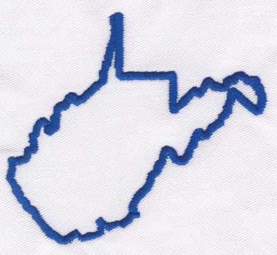 """Embroidery Design: West Virginia Outline3.24"""" x 3.61"""""""