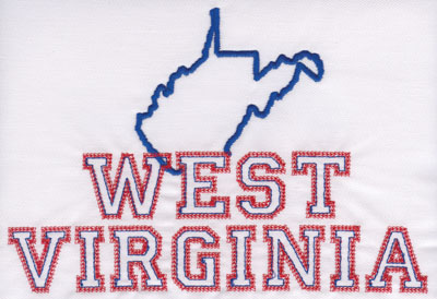 """Embroidery Design: West Virginia Outline and Name5.48"""" x 7.99"""""""