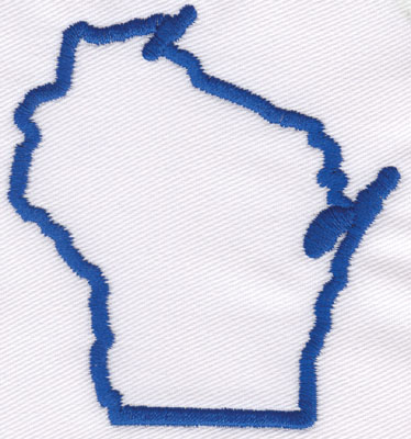 """Embroidery Design: Wisconsin Outline3.02"""" x 2.76"""""""
