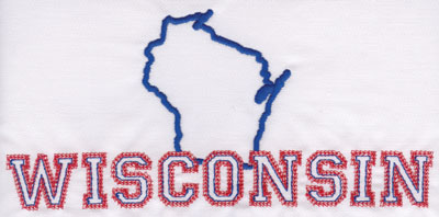 """Embroidery Design: Wisconsin Outline and Name3.76"""" x 8.02"""""""