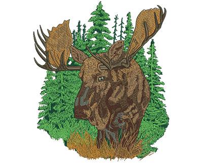 Embroidery Design: Moose Scene Lg 6.80w X 8.00h