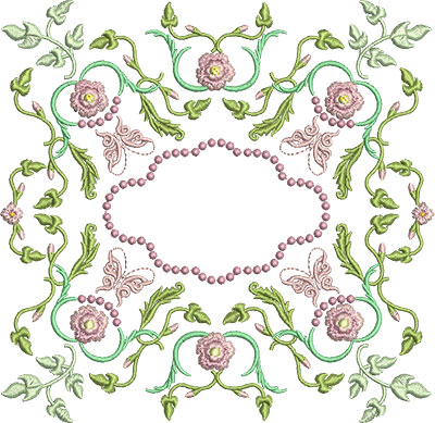 Embroidery Design: Rose and Butterfly Block 1 7.29w X 7.10h