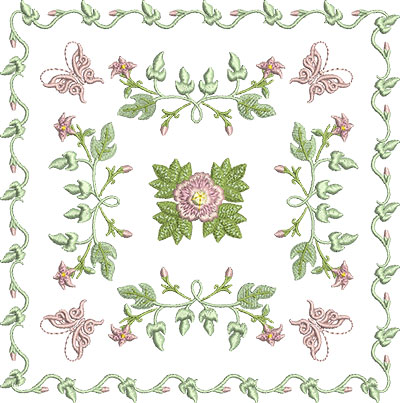 Embroidery Design: Rose and Butterfly Block 2 7.19w X 7.24h