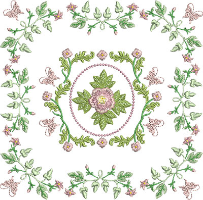 Embroidery Design: Rose and Butterfly Block 3 7.16w X 7.09h