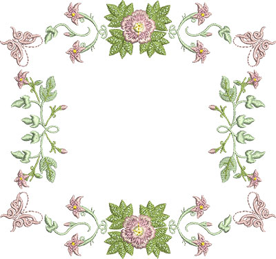 Embroidery Design: Rose and Butterfly Block 4 7.24w X 6.78h