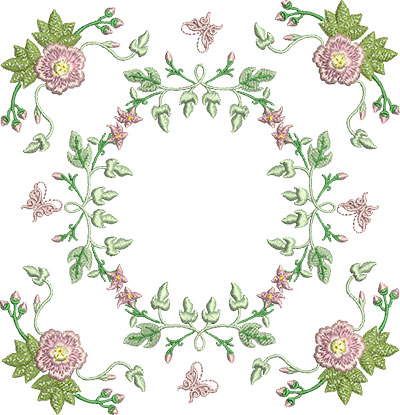 Embroidery Design: Rose and Butterfly Block 5 7.07w X 7.32h