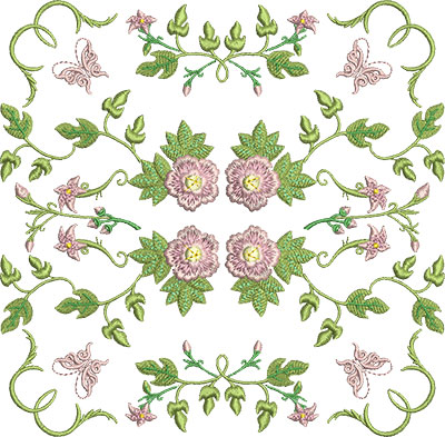 Embroidery Design: Rose and Butterfly Block 6 7.43w X 7.30h