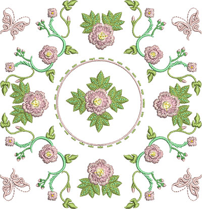 Embroidery Design: Rose and Butterfly Block 7 7.04w X 7.27h