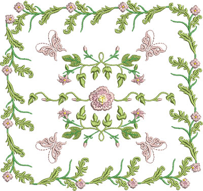 Embroidery Design: Rose and Butterfly Block 8 7.28w X 6.86h