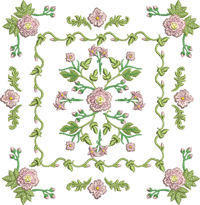 Embroidery Design: Rose and Butterfly Block 9 7.12w X 7.29h