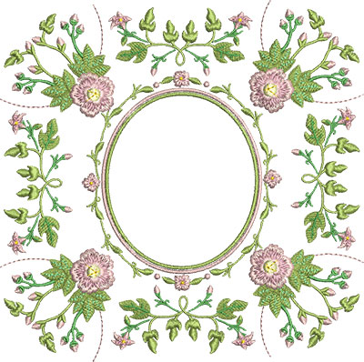 Embroidery Design: Rose and Butterfly Block 10 7.29w X 7.23h