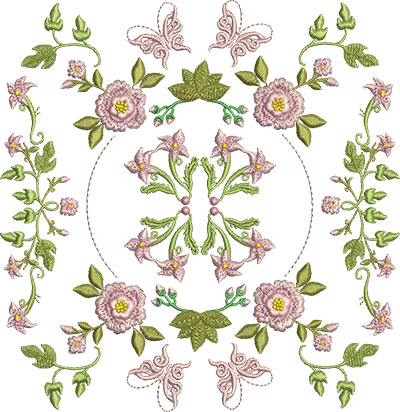 Embroidery Design: Rose and Butterfly Block 11 6.99w X 7.18h