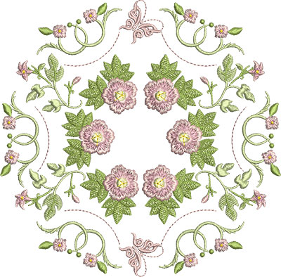 Embroidery Design: Rose and Butterfly Block 12 7.35w X 7.23h