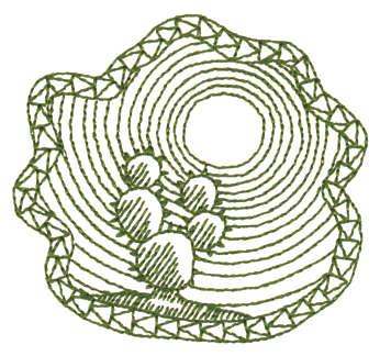 "Embroidery Design: Cactus In Desert Sun - Outline3.08"" x 2.86"""