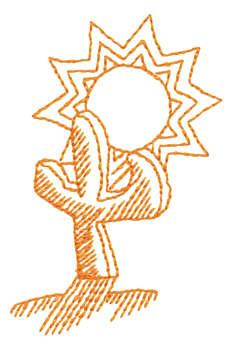 "Embroidery Design: Cactus & Sun - Outline2.19"" x 2.99"""