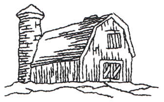 "Embroidery Design: Barn - Outline3.03"" x 1.87"""
