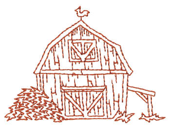 "Embroidery Design: Barn Front - Outline3.19"" x 2.32"""