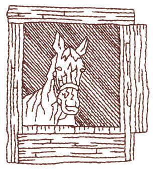 """Embroidery Design: Horse In Stall - Outline2.76"""" x 3.05"""""""