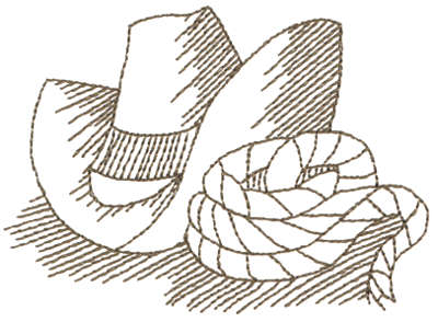 """Embroidery Design: Hat & Lasso - Outline3.75"""" x 2.80"""""""