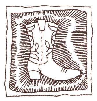 """Embroidery Design: Cowboy Boot In Border - Outline2.90"""" x 2.98"""""""