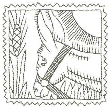 """Embroidery Design: Donkey - Outline3.26"""" x 3.24"""""""