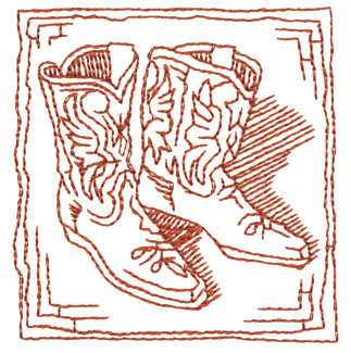 """Embroidery Design: Cowboy Boots - Outline2.82"""" x 2.94"""""""