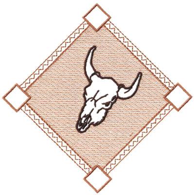 "Embroidery Design: Diamond Skull - Outline5.27"" x 5.23"""