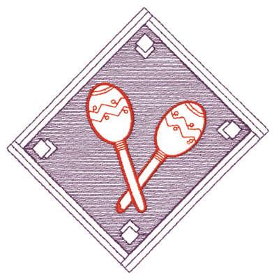 "Embroidery Design: Diamond Maraca - Outline5.28"" x 5.30"""