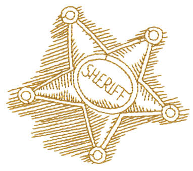 """Embroidery Design: Sheriff's Badge - Outline3.47"""" x 2.93"""""""