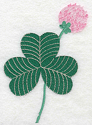 Embroidery Design: Shamrock with clover flower large 3.56w X 4.96h