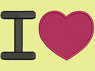 Embroidery Design: I love (heart) large 3.98w X 2.11h