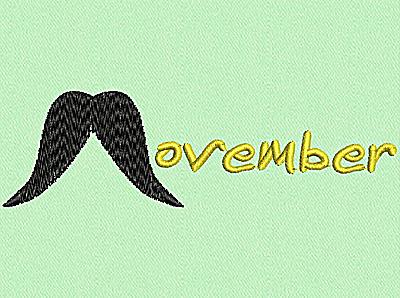 Embroidery Design: Movember 4.54w X 1.34h