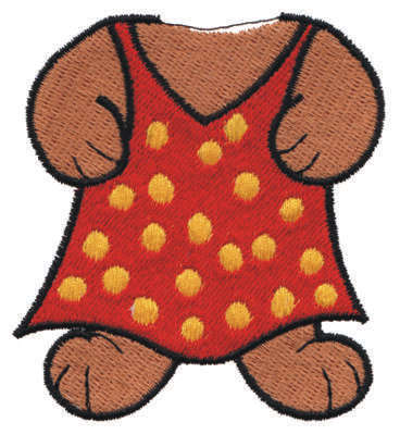 """Embroidery Design: Bear Body in a Dress2.70"""" x 3.11"""""""