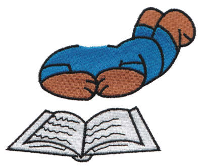 """Embroidery Design: Reading Bear Body3.93"""" x 3.33"""""""