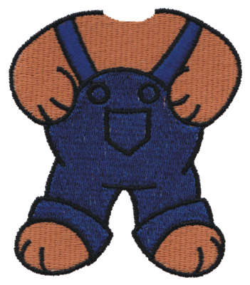"""Embroidery Design: Bear Body in Overalls2.81"""" x 3.24"""""""