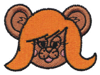 "Embroidery Design: Long Haired Girl Bear Head2.41"" x 1.75"""