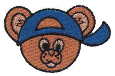 "Embroidery Design: Bear Head in a Baseball Cap2.61"" x 1.65"""